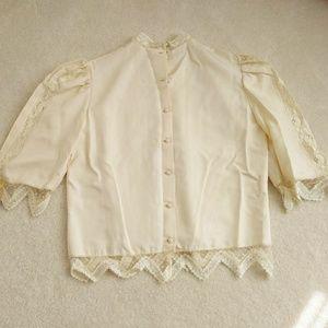 Vintage Victorian revival silk lace Rina di blouse